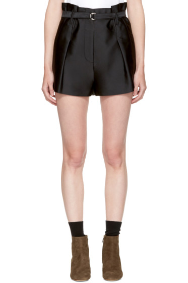 3.1 Phillip Lim - Black Satin Origami Shorts