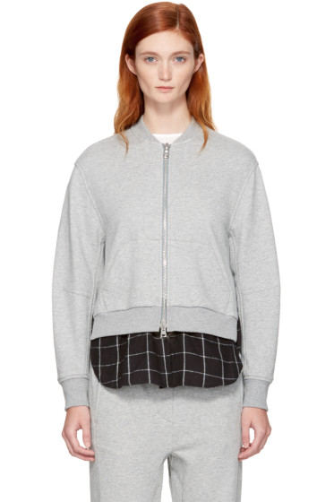 3.1 Phillip Lim - Grey Double Layer Zip Sweater