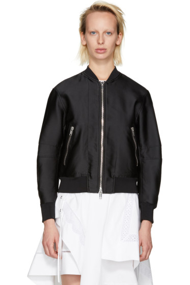 3.1 Phillip Lim - Black Satin Lacing Bomber Jacket