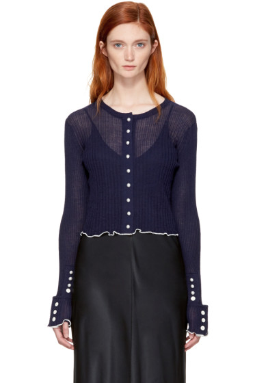 3.1 Phillip Lim - Navy Rib Cropped Cardigan