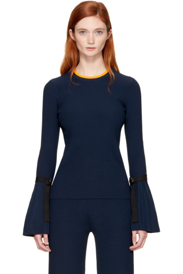 3.1 Phillip Lim - Navy Pleated Pullover