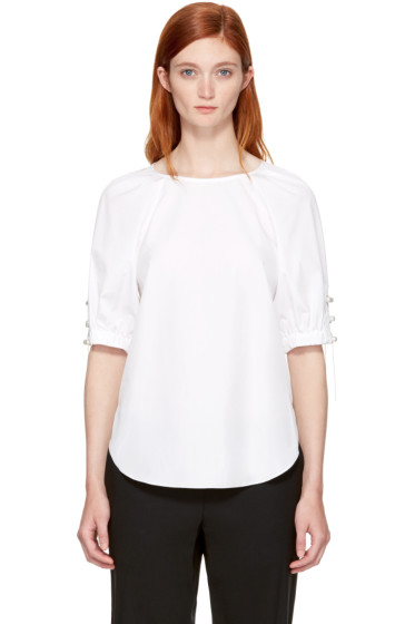 3.1 Phillip Lim - White Pearl Chain Gathered Blouse