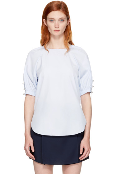 3.1 Phillip Lim - Blue Pearl Chain Gathered Blouse