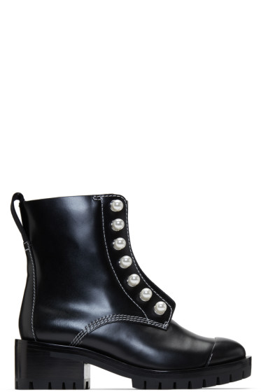 3.1 Phillip Lim - Black Lug Pearl Zipper Boots