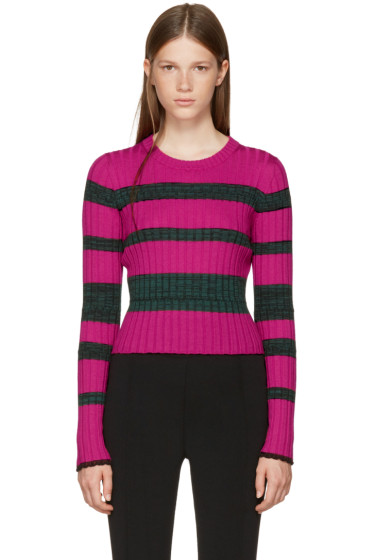 Proenza Schouler - Pink & Green Striped Crewneck Pullover