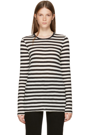 Proenza Schouler - Black & Off-White Long Sleeve Striped T-Shirt