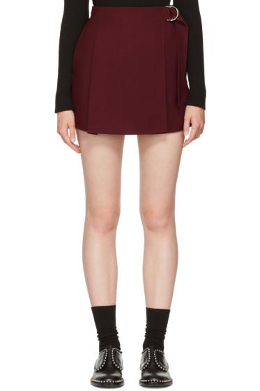 Carven - Burgundy Belt Sash Shorts