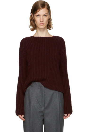 Carven - Burgundy Purl Stitch Crewneck Sweater