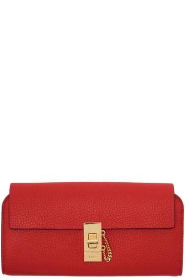 Chloé - Red Long Drew Flap Wallet