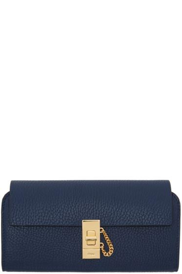Chloé - Navy Long Drew Flap Wallet