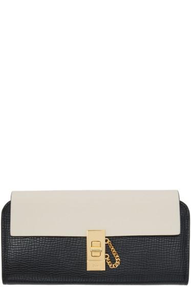 Chloé - Black & Off-White Long Drew Flap Wallet