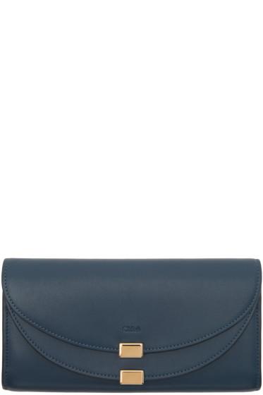 Chloé - Blue Long Georgia Flap Wallet