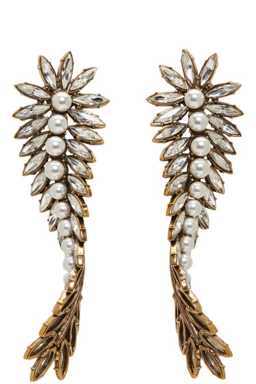 Balenciaga - Gold & Crystal Laurier Twist Earrings