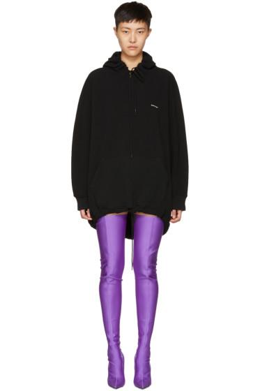 Balenciaga - Black Logo Cocoon Hoodie