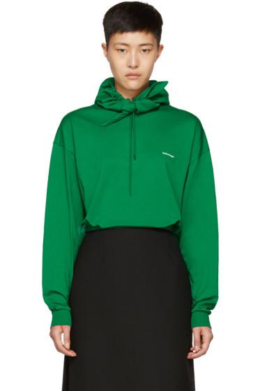Balenciaga - Green Logo Headscarf Hoodie