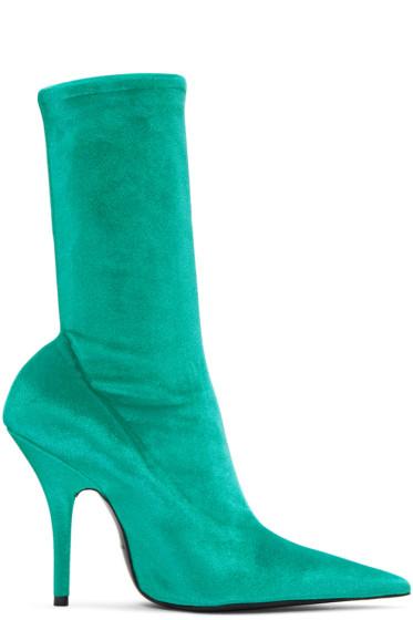 Balenciaga - Blue Velvet Knife Boots