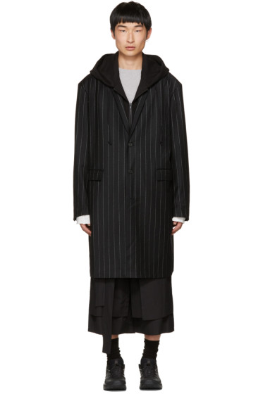 Juun.J - Black Pinstripe Hooded Coat