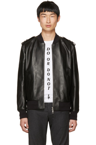 Neil Barrett - Black Leather Military Bomber Jacket