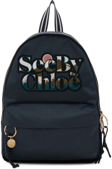 See by Chloé - Blue Satin Logo Backpack