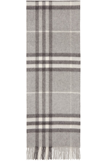 Burberry - Grey Cashmere Giant Icon Scarf