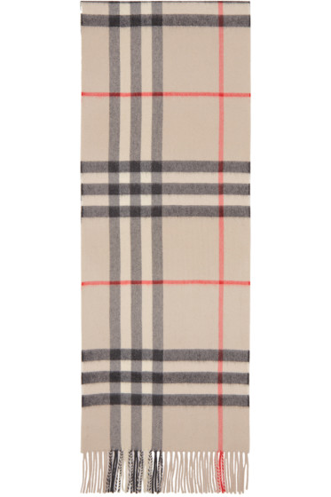 Burberry - Beige Cashmere Giant Icon Scarf