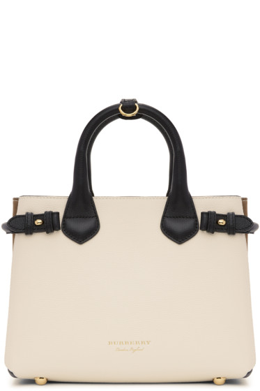 Burberry - White & Black Small Banner Tote
