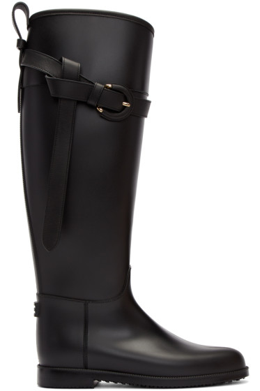 Burberry - Black Roscot Riding Rain Boots