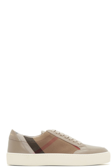 Burberry - Taupe Salmond Check Sneakers