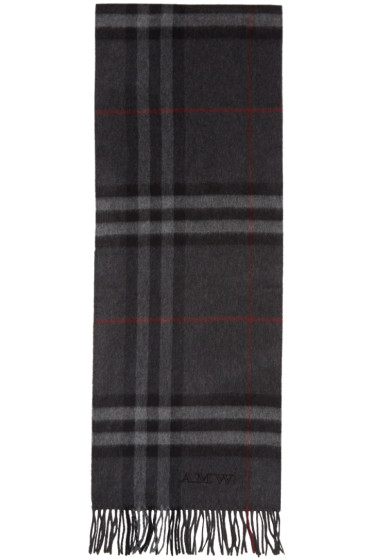 Burberry - Grey Cashmere Giant Check Scarf
