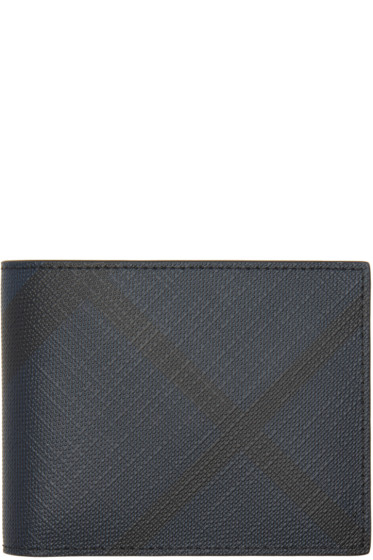 Burberry - Navy London Check Hipfold Wallet