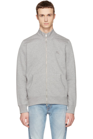 Burberry - Grey Sheltone Zip-Up Sweater