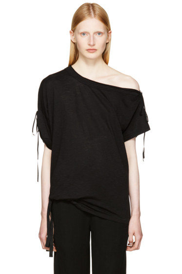 Ann Demeulemeester - Black Carrie Off-the-Shoulder T-Shirt