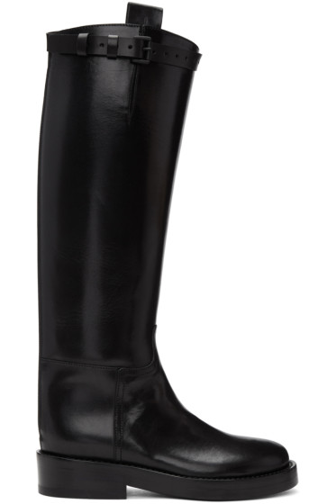 Ann Demeulemeester - Black Leather Riding Boots
