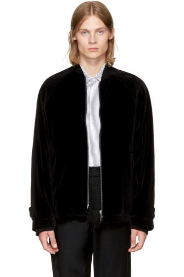 Ann Demeulemeester - Black Velvet Bomber Jacket