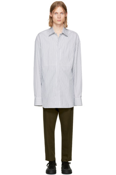 Ann Demeulemeester - White & Black Striped Shirt