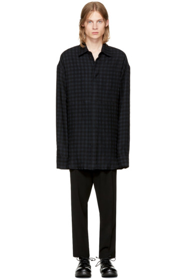 Ann Demeulemeester - Black Wool Check Shirt