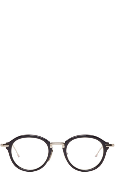 Thom Browne - Navy & Silver TB-011 Glasses