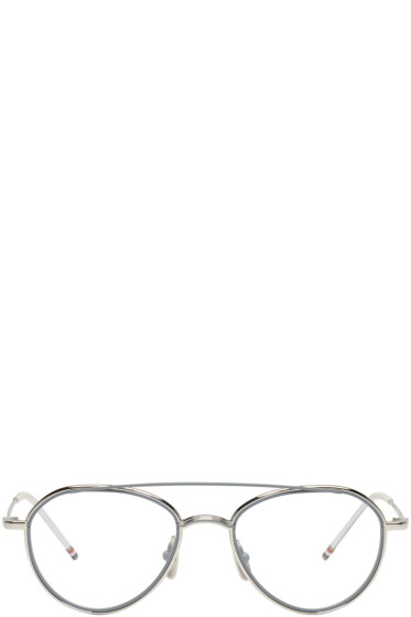 Thom Browne - Silver TB 109 Aviator Glasses