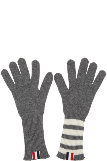 Thom Browne - Grey Rib Cashmere Four Bar Gloves
