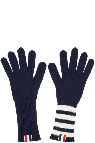Thom Browne - Navy Rib Cashmere Four Bar Gloves