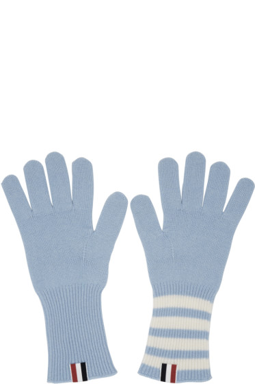 Thom Browne - Blue Rib Cashmere Four Bar Gloves