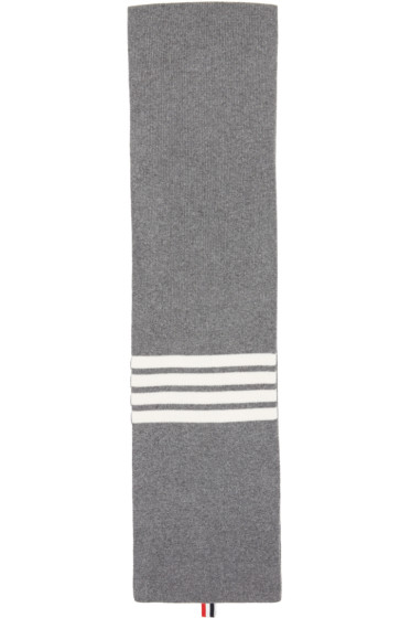 Thom Browne - Grey Rib Cashmere Four Bar Scarf