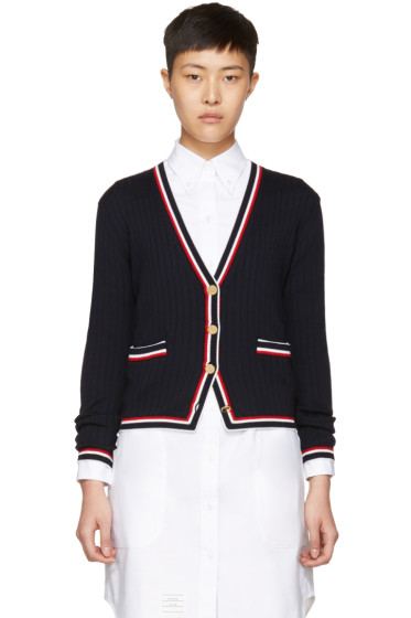 Thom Browne - Navy Rib Stitch V-Neck Cardigan