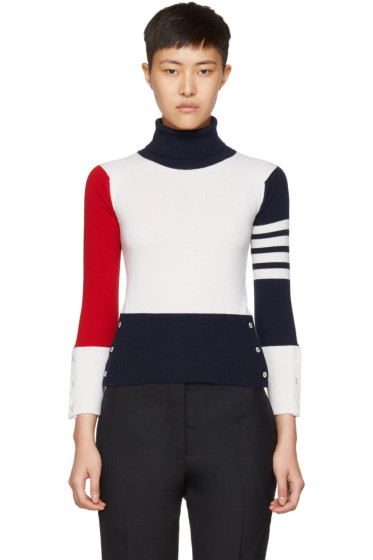 Thom Browne - Tricolor Cashmere Funmix Four Bar Turtleneck