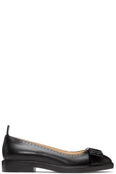 Thom Browne - Black Daytime Bow Ballerina Flats