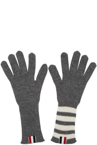 Thom Browne - Grey Rib Cashmere Four Bar Gloves