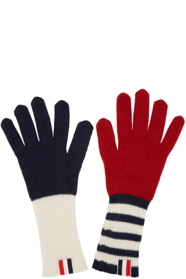 Thom Browne - Tricolor Rib Cashmere Funmix Four Bar Gloves