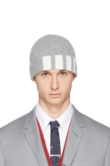 Thom Browne - Grey Cashmere Four Bar Beanie