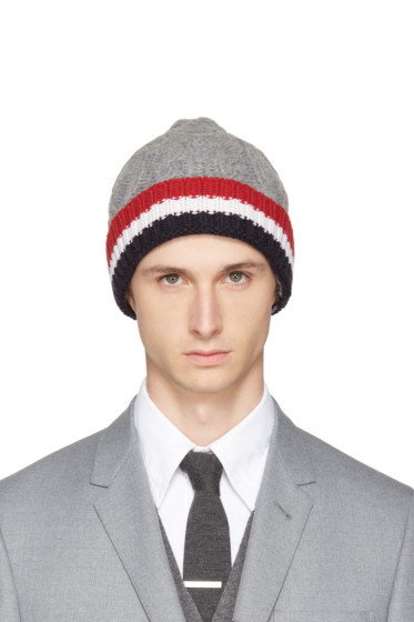 Thom Browne - Grey & Tricolor Merino Aran Cable Beanie