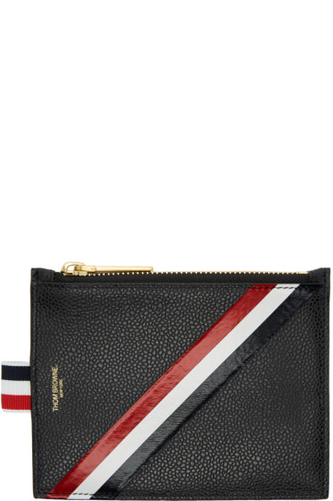Thom Browne - Black Small Diagonal Stripe Coin Purse